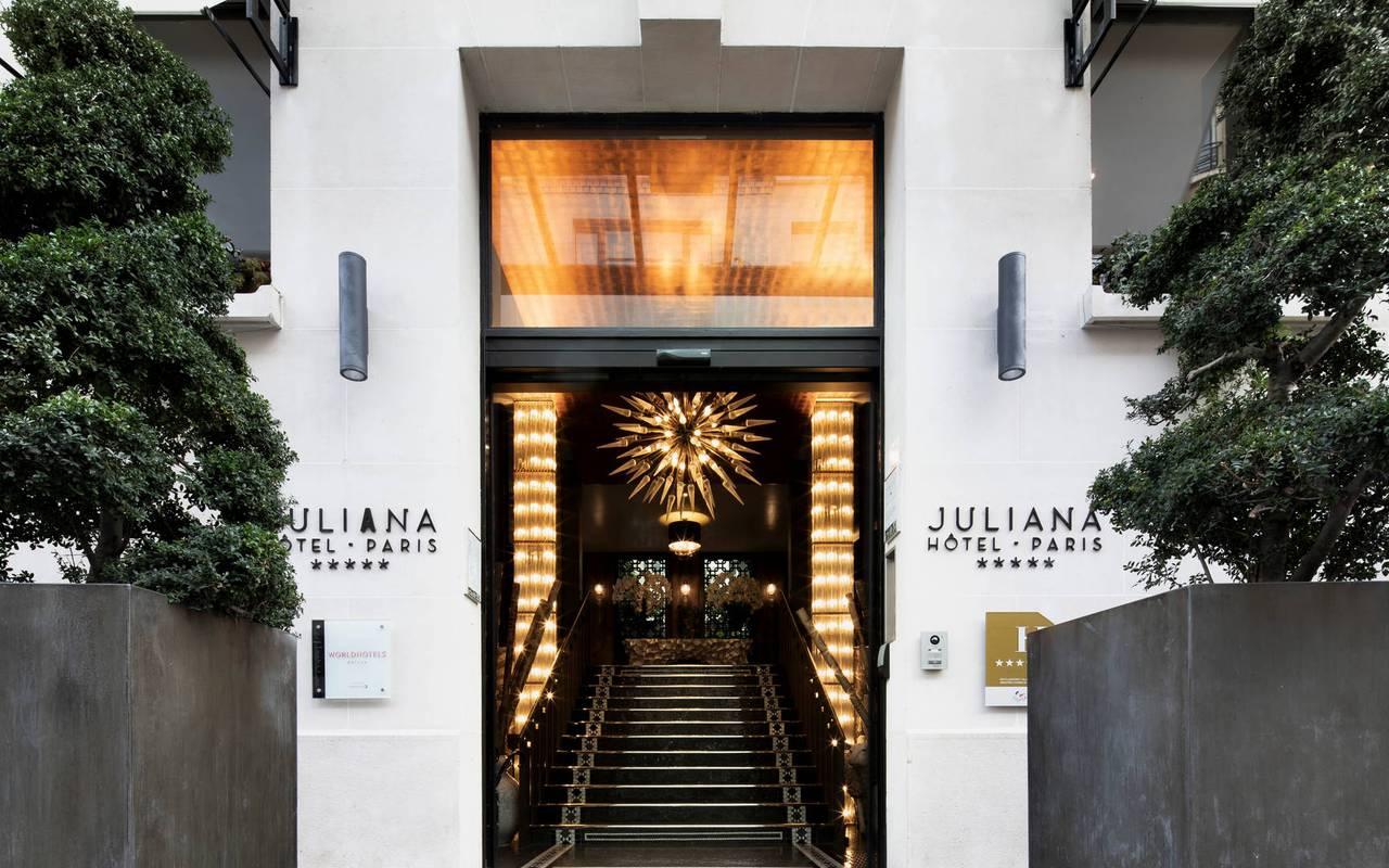 Facade of the hotel with entrance door, hotel in Paris France Eiffel Tower, Juliana Hotel Paris