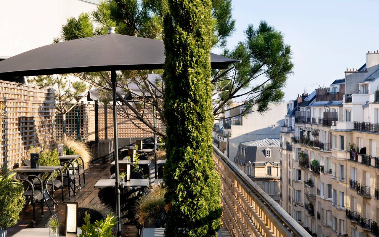 View from the terrace with a view on the roofs of Paris, 5-star hotel Eiffel tower Paris, Juliana hotel Paris