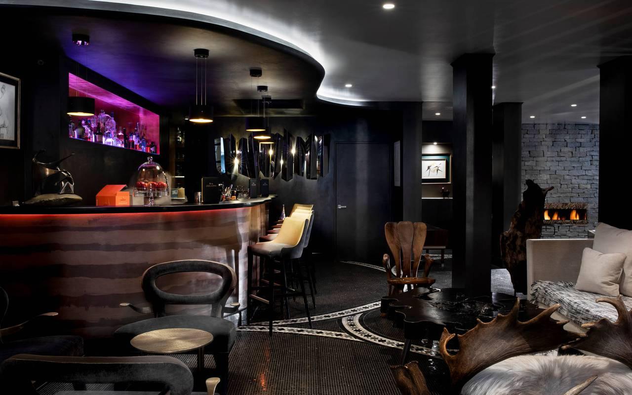 Bar cosy, hotel vue sur la tour eiffel, Juliana Hotel Paris.