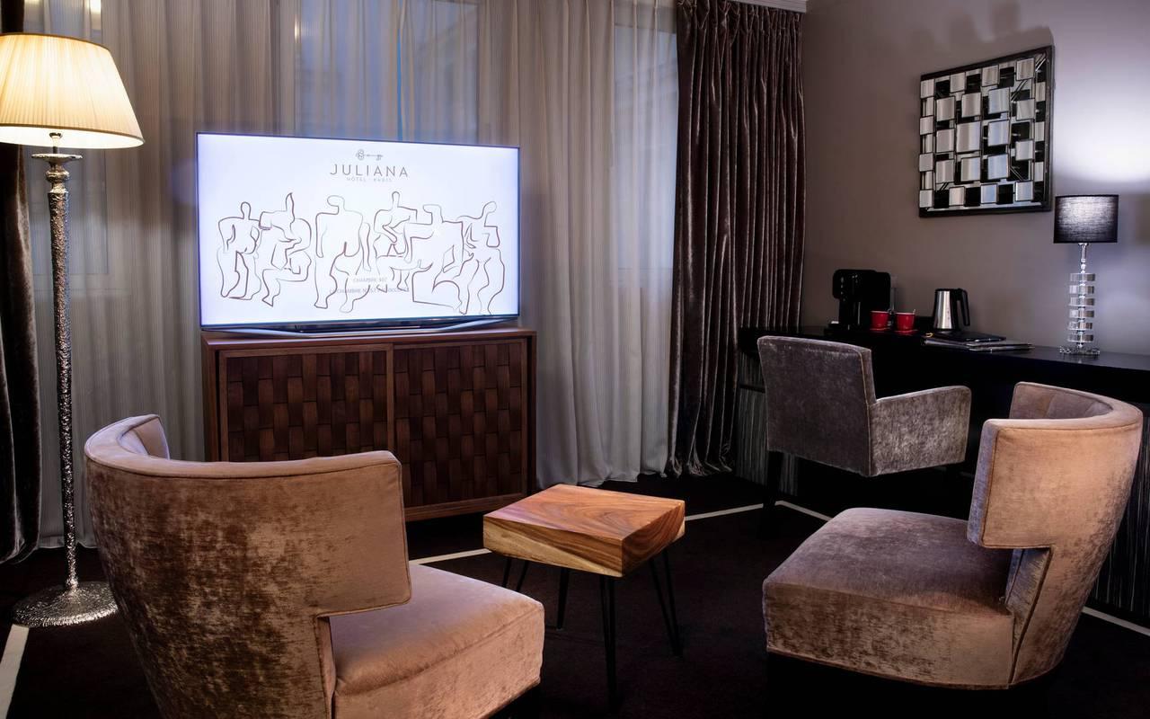 Grand coin salon, hôtel avec vue sur la Tour Eiffel, Juliana Hôtel Paris